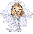 Beautiful fashionable happy girl bride vector image
