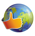 globe with like sign vector image