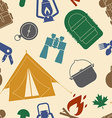 Camping and Hiking Seamless Pattern vector image
