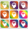 Brain sign icon Nine buttons with bright vector image