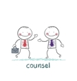 Counsel speaks with a client vector image