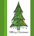 doodle card with green christmas tree and vector image