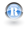 glossy icon letter r vector image