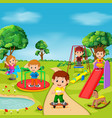 kids playing outdoor in park vector image