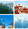 landscapes set vector image