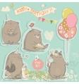 birthday set with cute bears vector image