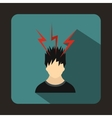 Lightning above the head of man icon flat style vector image