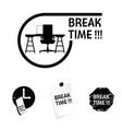 break time icon in black color vector image
