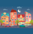 cartoon city street at night street lights vector image