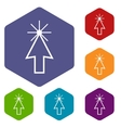 Click rhombus icons vector image