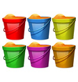 Colourful pails with sands vector image