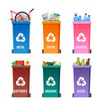 containers set for sorting garbage blue for metal vector image