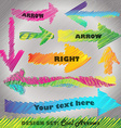 Design set Rainbow colored scribbled arrows vector image