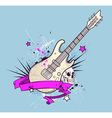 Grunge background with electric guitar vector image