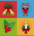 set icons of christmas pop art vector image