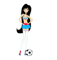 Sexy girl soccer fan vector image