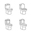 toilet sketch sign toilet bowl with seat line art vector image