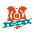 winner colorful badge design vector image