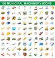 100 municipal machinery icons set cartoon style vector image