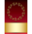red and gold background with frame from roses vector image