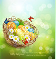 background with Easter nest and eggs on spring bac vector image