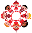 happy multicultural winter kids holding hands vector image vector image