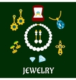 Assorted flat luxury jewelries icons vector image