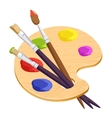 Isolated artist palette with three long different vector image vector image