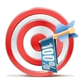 Red darts target aim and banner 100 vector image