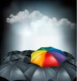 A rainbow umbrella amongst grey ones Uniqueness vector image