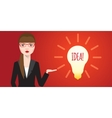 Smiling businesswoman get the idea from the vector image