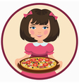 girl with pizza vector image