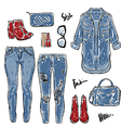 Hand drawn fashion Collection of womens jeans vector image