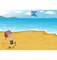 A beach with a boy playing vector image