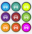 Auto icon sign Nine multi-colored round buttons vector image