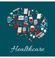 Brain symbol made up of medicine healthcare icon vector image