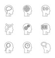 man head with thoughts icons set outline style vector image