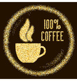 Natural 100 Quality coffee type with cup on Golden vector image