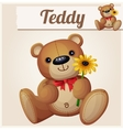 Teddy bear with yellow flower Cartoon vector image