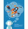 Astronaut who is thinking about rockets stars and vector image