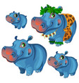 hippos rest and sunbathe on holiday vector image