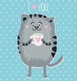 cute cat with cup vector image