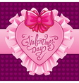 Happy Valentine day pink card vector image