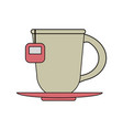 color image cartoon porcelain cup of tea with vector image