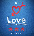 freehand letters love text doodles vector image