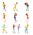 happy people characters celebrating dancing and vector image