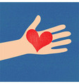 Love red heart in hand to woman vector image