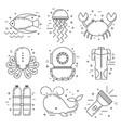 scuba diving line art icons vector image