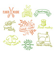 Set of vintage retro knitting badges labels and vector image