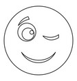 winks smile icon thin line vector image